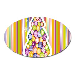 Christmas Tree Colorful Oval Magnet by Nexatart