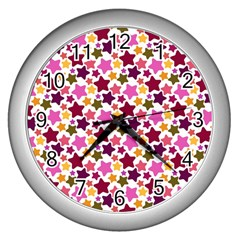 Christmas Star Pattern Wall Clocks (silver)  by Nexatart