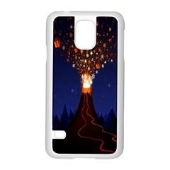 Christmas Volcano Samsung Galaxy S5 Case (white) by Nexatart