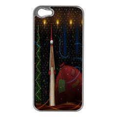 Christmas Xmas Bag Pattern Apple Iphone 5 Case (silver) by Nexatart
