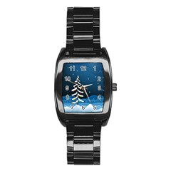 Christmas Xmas Fall Tree Stainless Steel Barrel Watch by Nexatart