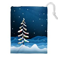Christmas Xmas Fall Tree Drawstring Pouches (xxl) by Nexatart