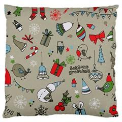 Christmas Xmas Pattern Large Cushion Case (two Sides) by Nexatart
