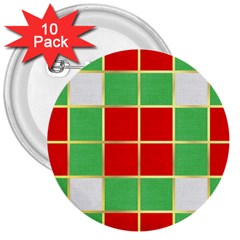 Christmas Fabric Textile Red Green 3  Buttons (10 Pack)  by Nexatart
