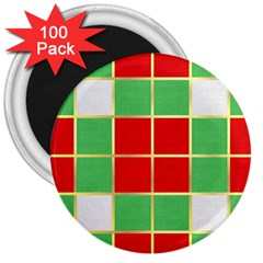 Christmas Fabric Textile Red Green 3  Magnets (100 Pack) by Nexatart