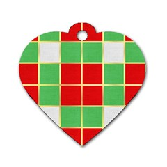 Christmas Fabric Textile Red Green Dog Tag Heart (one Side) by Nexatart