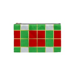 Christmas Fabric Textile Red Green Cosmetic Bag (small)  by Nexatart