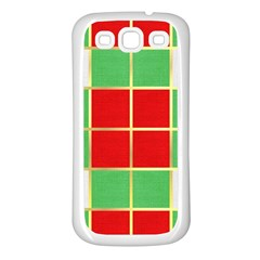 Christmas Fabric Textile Red Green Samsung Galaxy S3 Back Case (white) by Nexatart