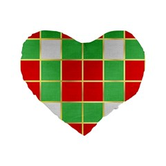 Christmas Fabric Textile Red Green Standard 16  Premium Flano Heart Shape Cushions by Nexatart