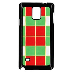 Christmas Fabric Textile Red Green Samsung Galaxy Note 4 Case (Black) by Nexatart
