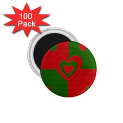 Christmas Fabric Hearts Love Red 1 75  Magnets (100 Pack)  by Nexatart
