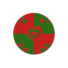 Christmas Fabric Hearts Love Red Magnet 3  (round) by Nexatart