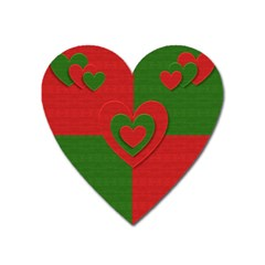 Christmas Fabric Hearts Love Red Heart Magnet by Nexatart