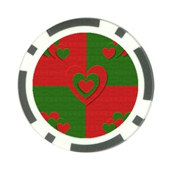 Christmas Fabric Hearts Love Red Poker Chip Card Guard by Nexatart