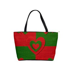 Christmas Fabric Hearts Love Red Shoulder Handbags by Nexatart