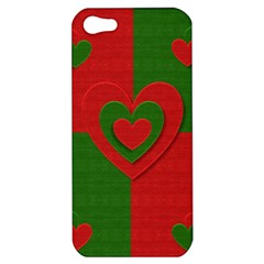 Christmas Fabric Hearts Love Red Apple Iphone 5 Hardshell Case by Nexatart