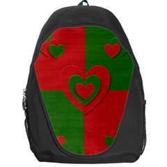 Christmas Fabric Hearts Love Red Backpack Bag by Nexatart