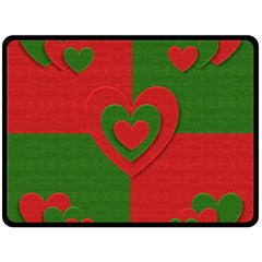 Christmas Fabric Hearts Love Red Double Sided Fleece Blanket (large)  by Nexatart