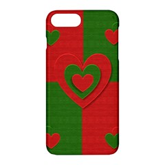 Christmas Fabric Hearts Love Red Apple iPhone 7 Plus Hardshell Case by Nexatart