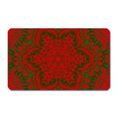 Christmas Kaleidoscope Art Pattern Magnet (Rectangular) by Nexatart