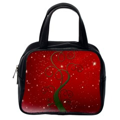 Christmas Modern Day Snow Star Red Classic Handbags (one Side) by Nexatart