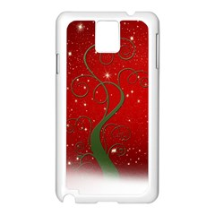Christmas Modern Day Snow Star Red Samsung Galaxy Note 3 N9005 Case (white) by Nexatart