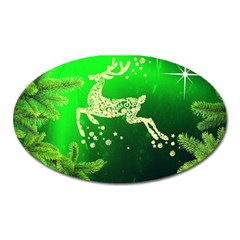 Christmas Reindeer Happy Decoration Oval Magnet by Nexatart