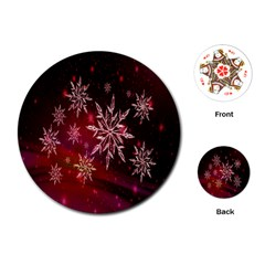 Christmas Snowflake Ice Crystal Playing Cards (Round)