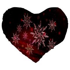 Christmas Snowflake Ice Crystal Large 19  Premium Heart Shape Cushions by Nexatart