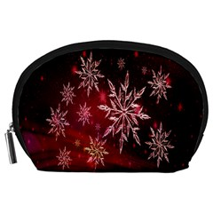Christmas Snowflake Ice Crystal Accessory Pouches (large)  by Nexatart