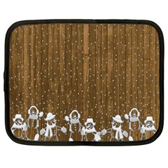 Christmas Snowmen Rustic Snow Netbook Case (large) by Nexatart