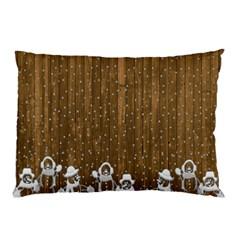 Christmas Snowmen Rustic Snow Pillow Case by Nexatart