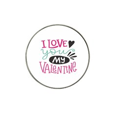 I Love You My Valentine (white) Our Two Hearts Pattern (white) Hat Clip Ball Marker by FashionFling
