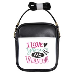 I Love You My Valentine (white) Our Two Hearts Pattern (white) Girls Sling Bags by FashionFling