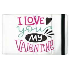 I Love You My Valentine (white) Our Two Hearts Pattern (white) Apple Ipad 3/4 Flip Case by FashionFling