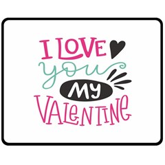 I Love You My Valentine (white) Our Two Hearts Pattern (white) Double Sided Fleece Blanket (medium)  by FashionFling