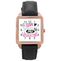 I Love You My Valentine (white) Our Two Hearts Pattern (white) Rose Gold Leather Watch  by FashionFling