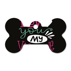 I Love You My Valentine / Our Two Hearts Pattern (black) Dog Tag Bone (one Side) by FashionFling