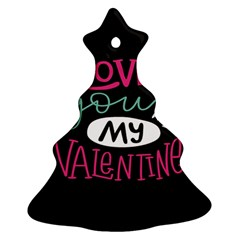 I Love You My Valentine / Our Two Hearts Pattern (black) Christmas Tree Ornament (two Sides) by FashionFling