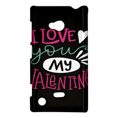 I Love You My Valentine / Our Two Hearts Pattern (black) Nokia Lumia 720 by FashionFling