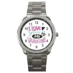 I Love You My Valentine / Our Two Hearts Pattern (white) Sport Metal Watch by FashionFling