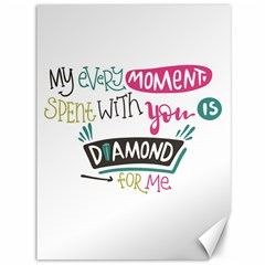 My Every Moment Spent With You Is Diamond To Me / Diamonds Hearts Lips Pattern (white) Canvas 36  X 48   by FashionFling