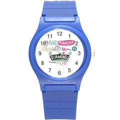 My Every Moment Spent With You Is Diamond To Me / Diamonds Hearts Lips Pattern (white) Round Plastic Sport Watch (s) by FashionFling