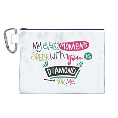 My Every Moment Spent With You Is Diamond To Me / Diamonds Hearts Lips Pattern (white) Canvas Cosmetic Bag (l) by FashionFling