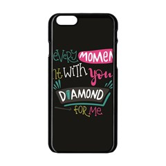 My Every Moment Spent With You Is Diamond To Me / Diamonds Hearts Lips Pattern (black) Apple Iphone 6/6s Black Enamel Case by FashionFling