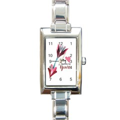 My Heart Points To Yours / Pink And Blue Cupid s Arrows (white) Rectangle Italian Charm Watch by FashionFling