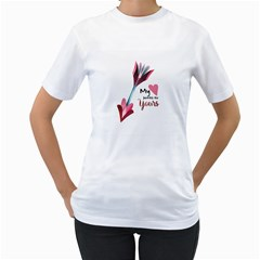 My Heart Points To Yours / Pink And Blue Cupid s Arrows (white) Women s T Shirt (white) (two Sided) by FashionFling