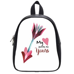 My Heart Points To Yours / Pink And Blue Cupid s Arrows (white) School Bags (small)  by FashionFling