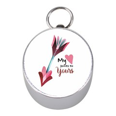 My Heart Points To Yours / Pink And Blue Cupid s Arrows (white) Mini Silver Compasses by FashionFling