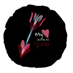 My Heart Points To Yours / Pink And Blue Cupid s Arrows (black) Large 18  Premium Flano Round Cushions by FashionFling
